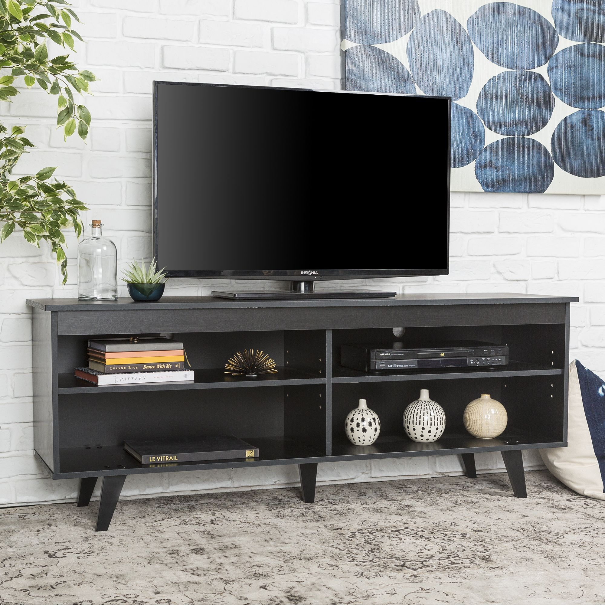 58 W Trends Simple Contemporary Wood Tv Console Black Bjs Wholesale Club