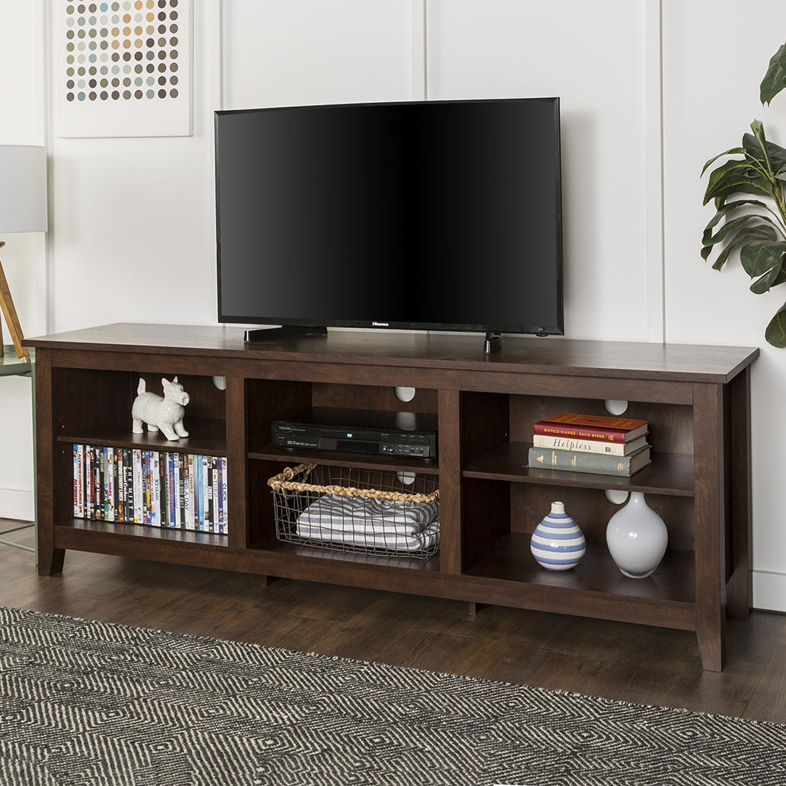 W Trends 70 Wood Media Tv Stand Storage Console For Tvs Up To 70 Traditional Brown Bjs Wholesale Club
