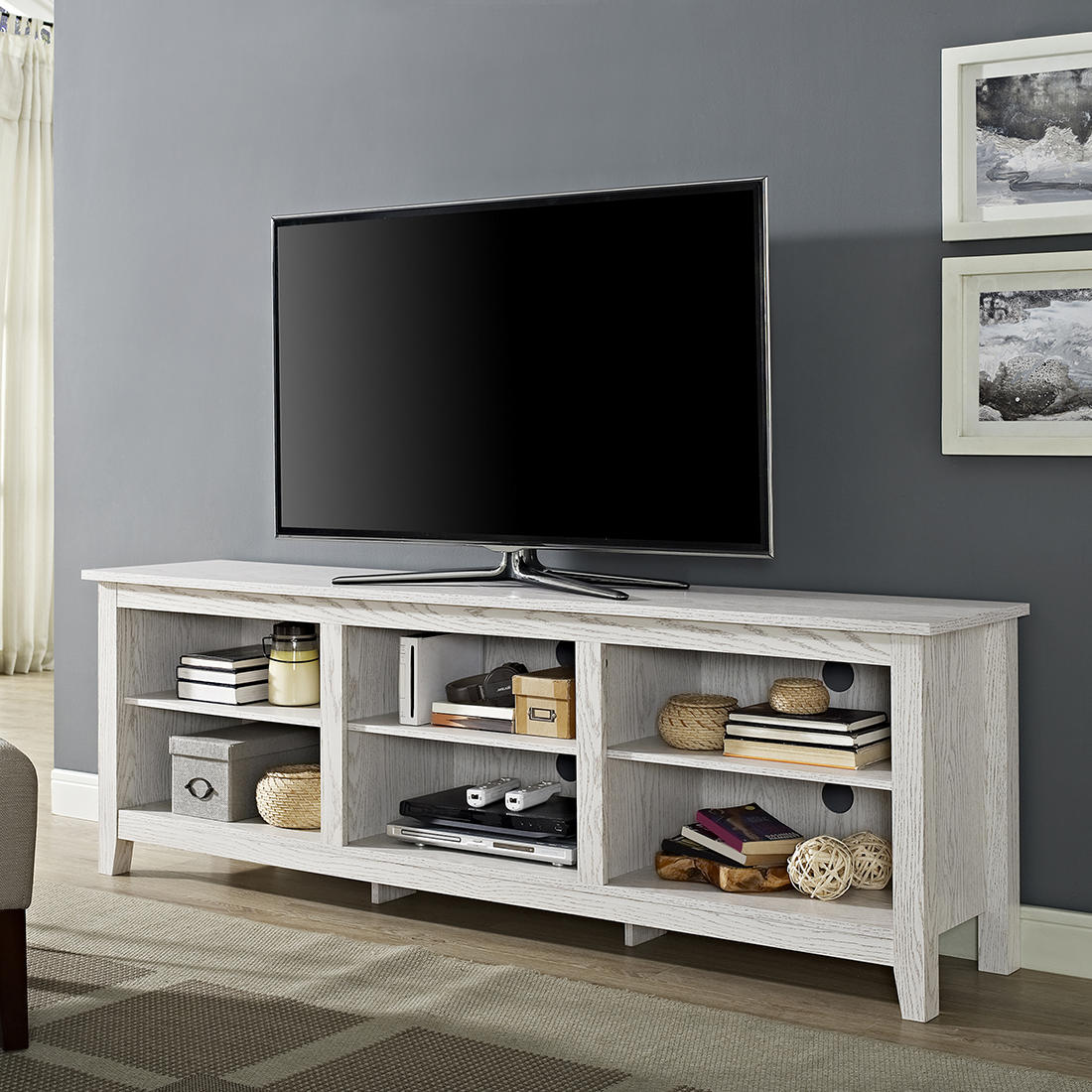 W Trends 70 Wood Media Tv Stand Storage Console For Tvs Up To 70 White Wash Bjs Wholesale Club