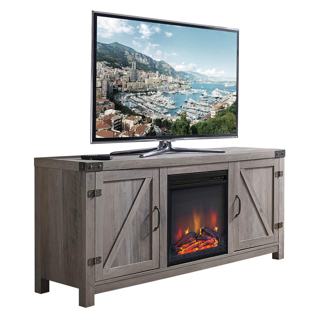 58 W Trends Emerson Fireplace Tv Stand Grey Wash Bjs Wholesale Club