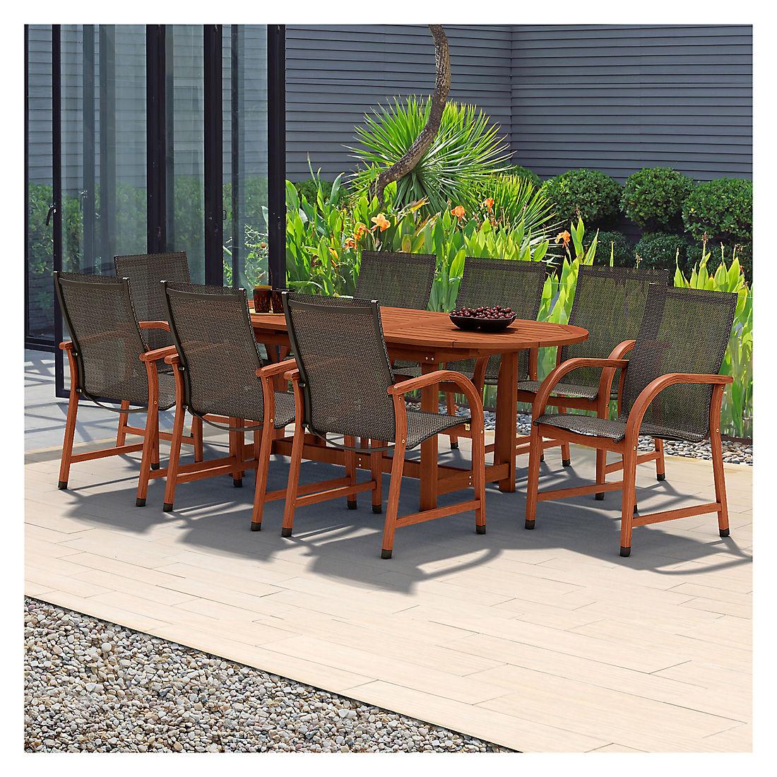 Amazonia Indiana 9 Pc Oval Eucalyptus Outdoor Dining Set Black Brown Bjs Wholesale Club