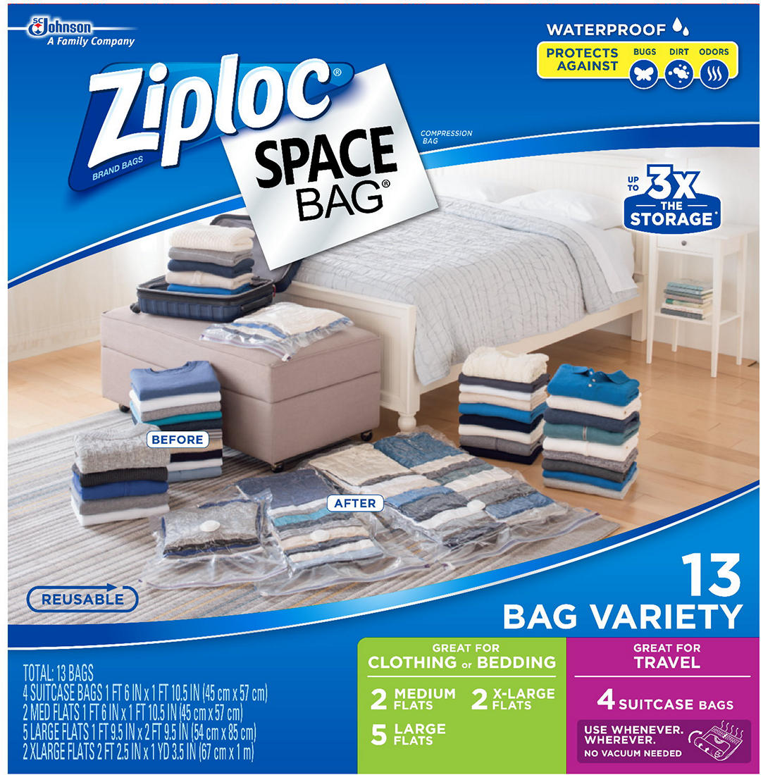 Space Saver Storage Bags for Clothes Lrg /& Jumbo 10-pack Compression NO vacuum