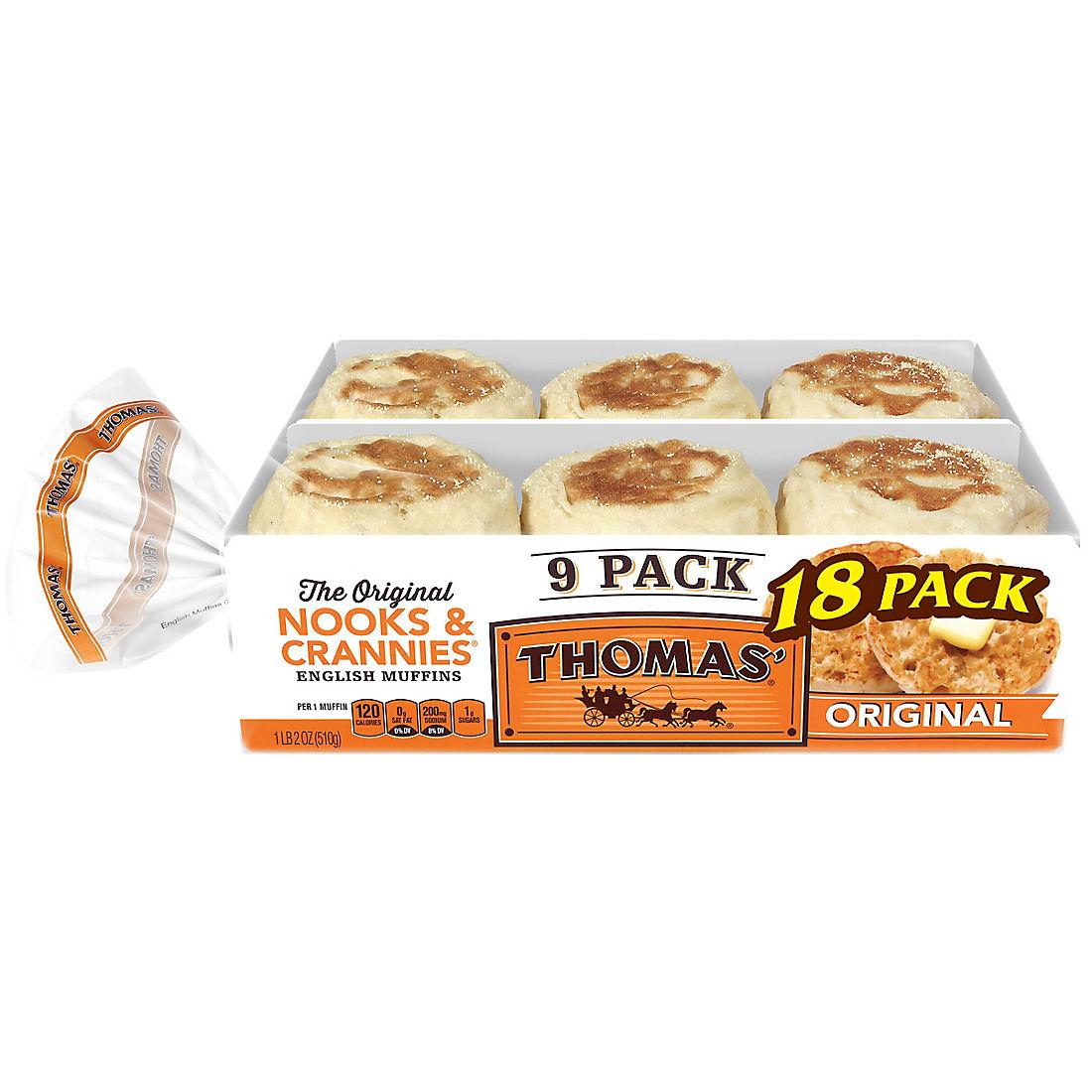 Thomas English Muffins 2 Pk 9 Ct Bjs Wholesale Club