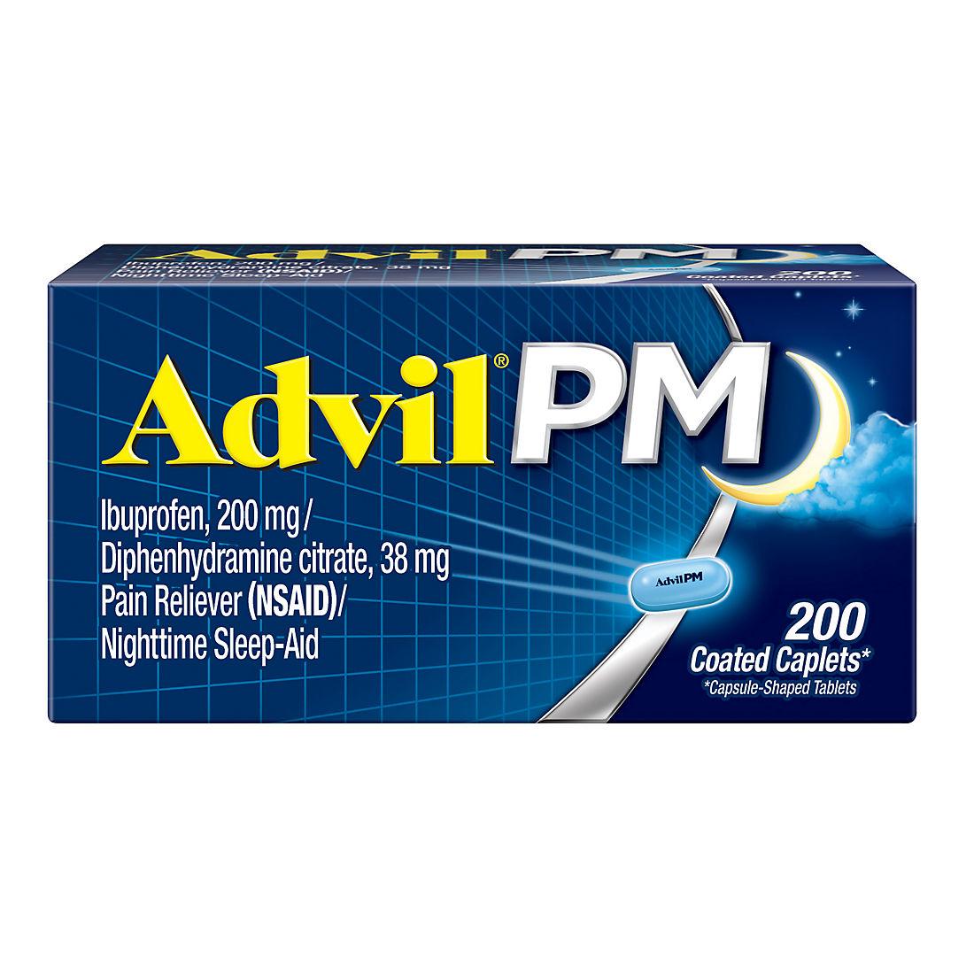 Advil Pm Pain Reliever 200 Ct Bjs Wholesale Club