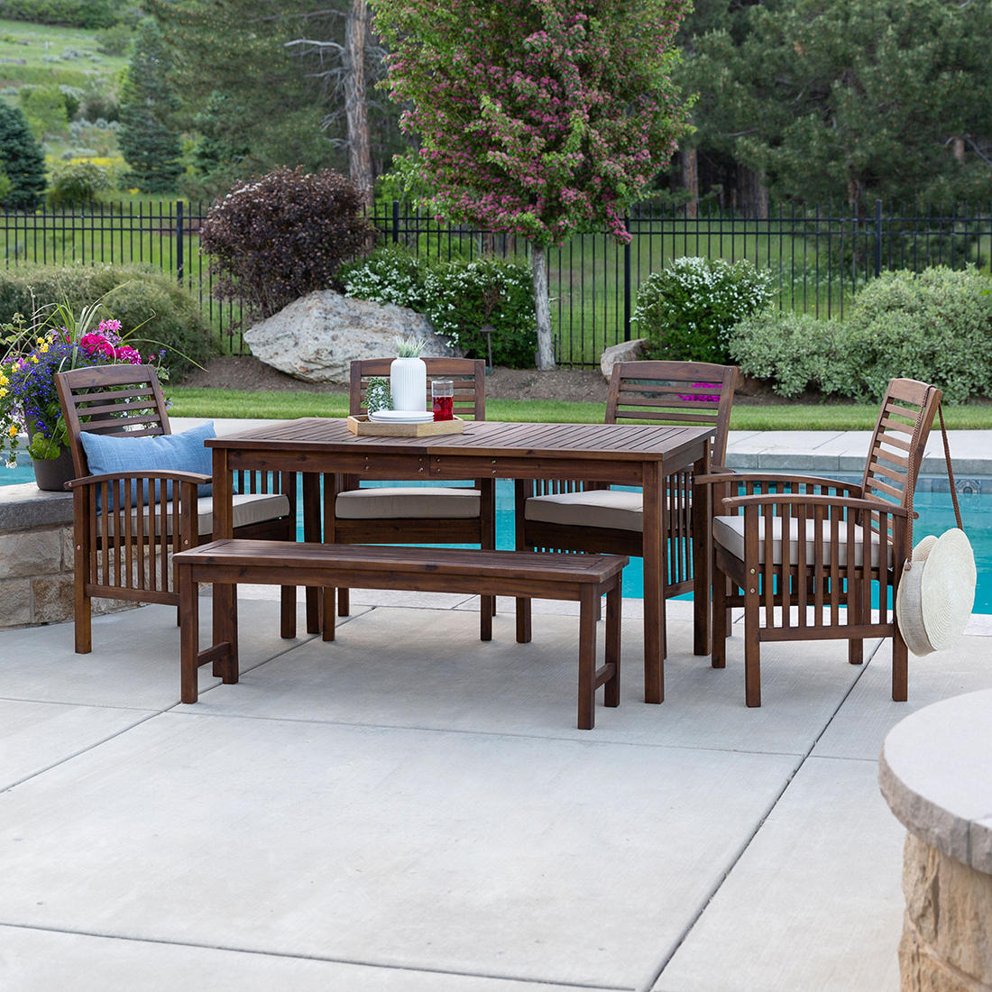 W Trends 6 Pc Outdoor Cliff Acacia Wood Dining Set Bjs Wholesale Club