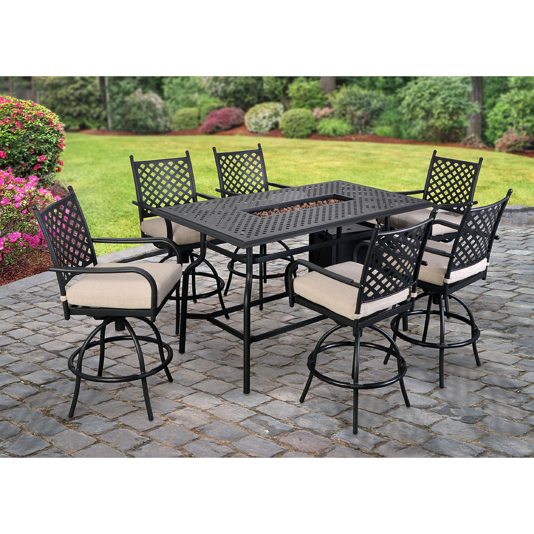 Berkley Jensen Westland 8 Pc High Dining Set With Fire Table Bjs Wholesale Club
