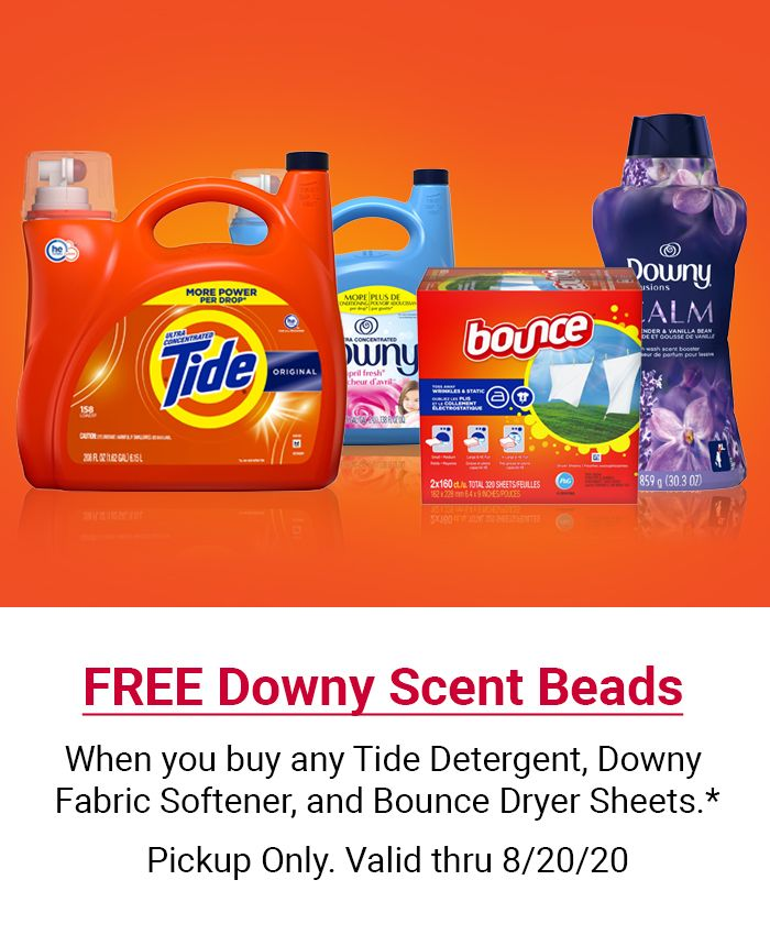 Free Downy Scent Beads when you buy any Tide detergent, Downy fabric softener, and Bounce dryer sheets. Pickup only. Valid through August 20.