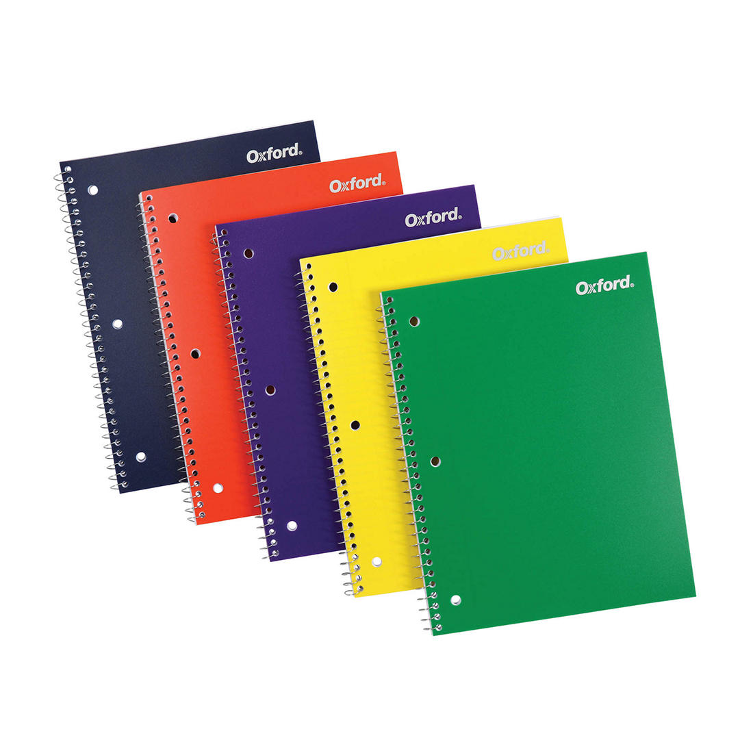 Oxford Spiral Notebooks 100 Sheets Durable Plastic Cover 6 per Pack Divider Pocket 10390 1 Subject College Ruled Paper