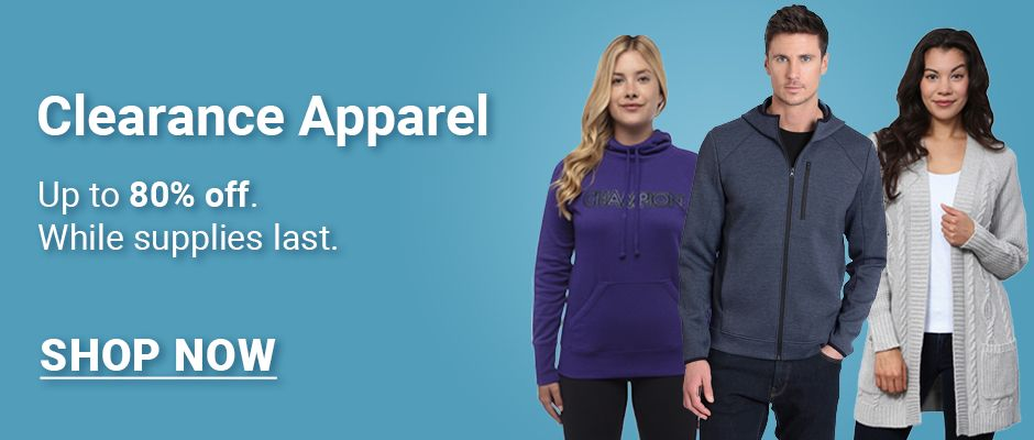 Clearance Apparel. Up to 80% off. While supplies last. Click here to shop now.
