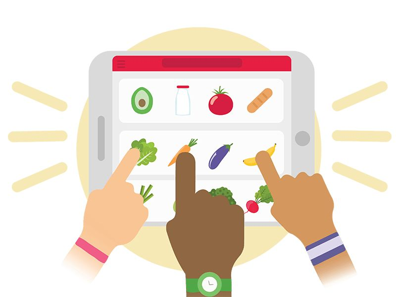 Icon showing people ordering groceries online for delivery