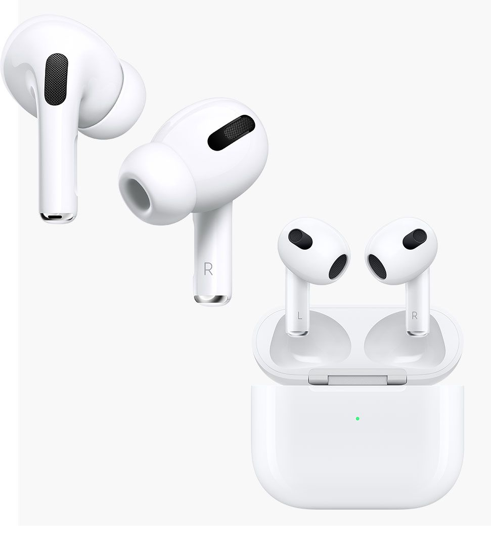 Photo of two airpods of different. generations