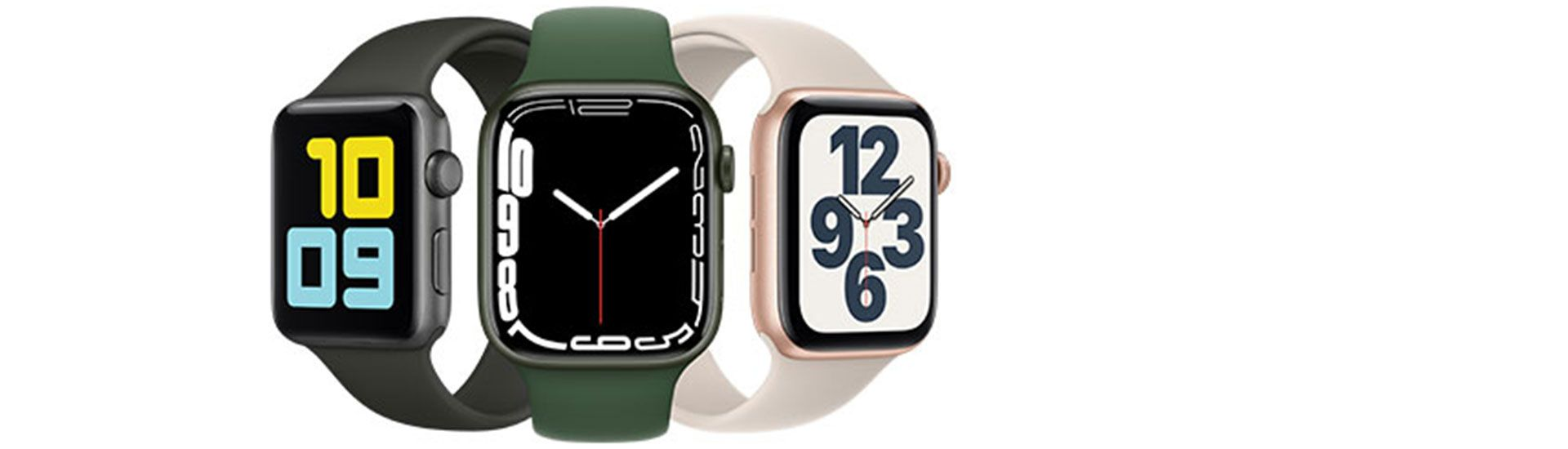 Photo of three Apple Watches with different colors or watch faces