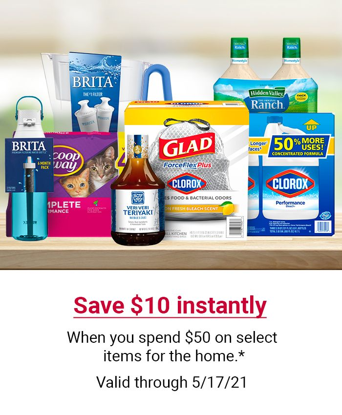 Stocking up? Spend $50 on select items for the home and save $10 instantly in-cart. Valid through 05/17/21.