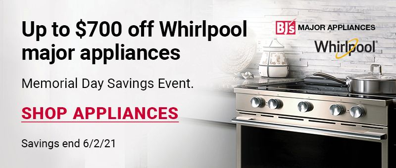 Upgrade your home for summer. Get up to 20% off Whirlpool major home appliiances. click to shop all appliances. Savings end 6/2/21