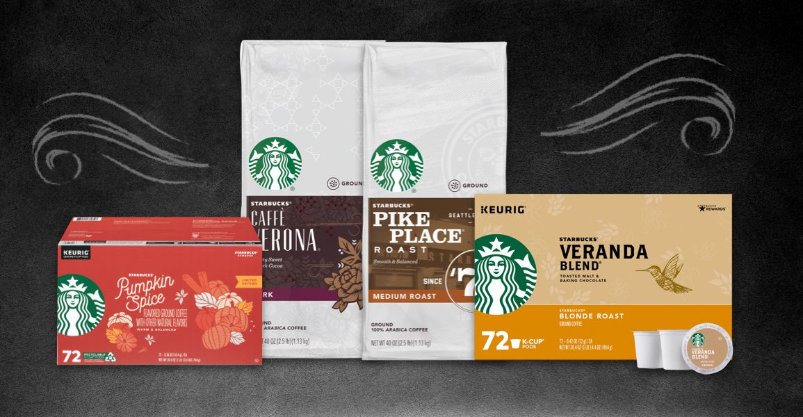assortment of Starbucks coffee products