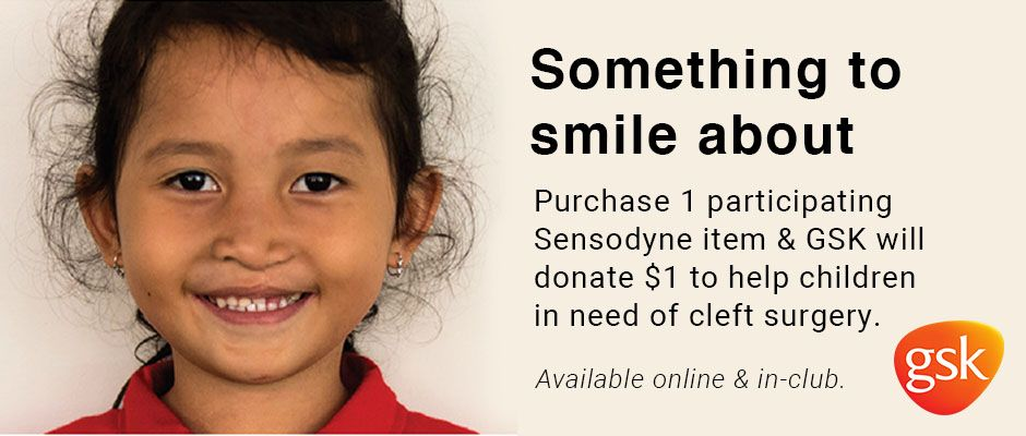 Something to smile about. Purchase 1 participating Sensodyne item & GSK will donate $1 to help children in need of cleft surgery. Available online & in-club.