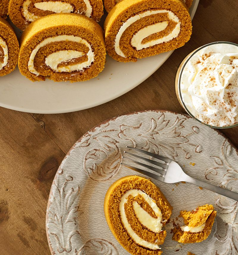 overhead photo of wellsley farms pumpkin pie bread with cream filling on a wood background