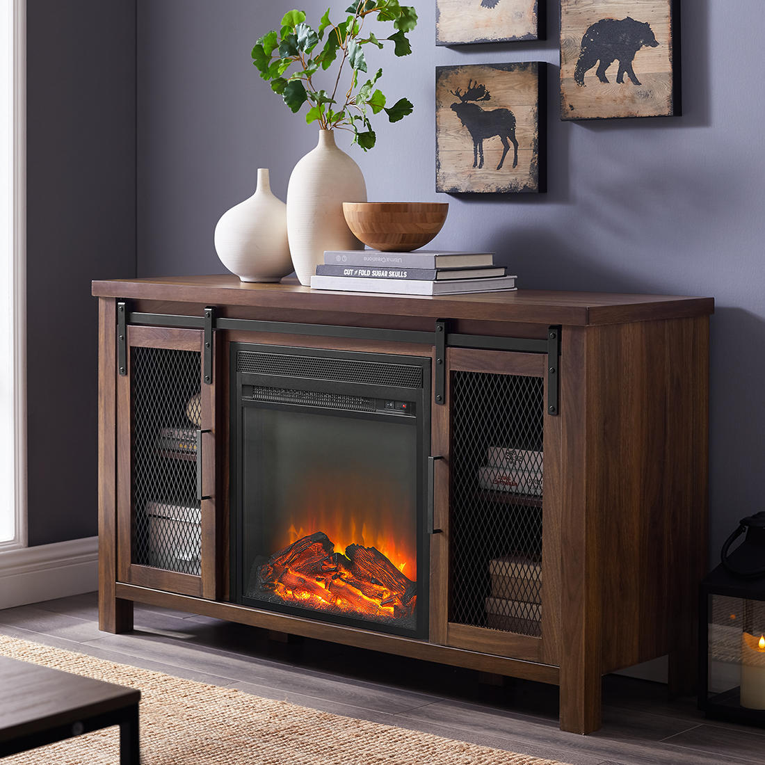 W Trends 48 Farmhouse Sliding Door Fireplace Tv Stand For Most Tv S Up To 55 Dark Walnut Bjs Wholesale Club