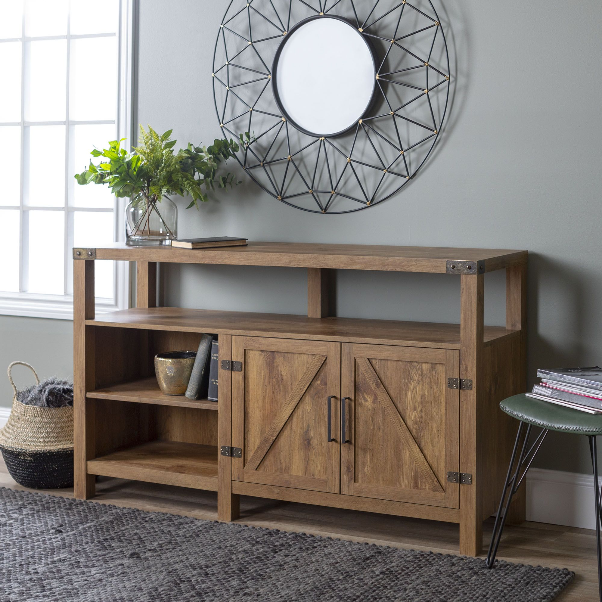 Picture of: W Trends 58 Farmhouse Extra Tall Tv Stand For Most Tv S Up To 65 Barnwood Bjs Wholesale Club