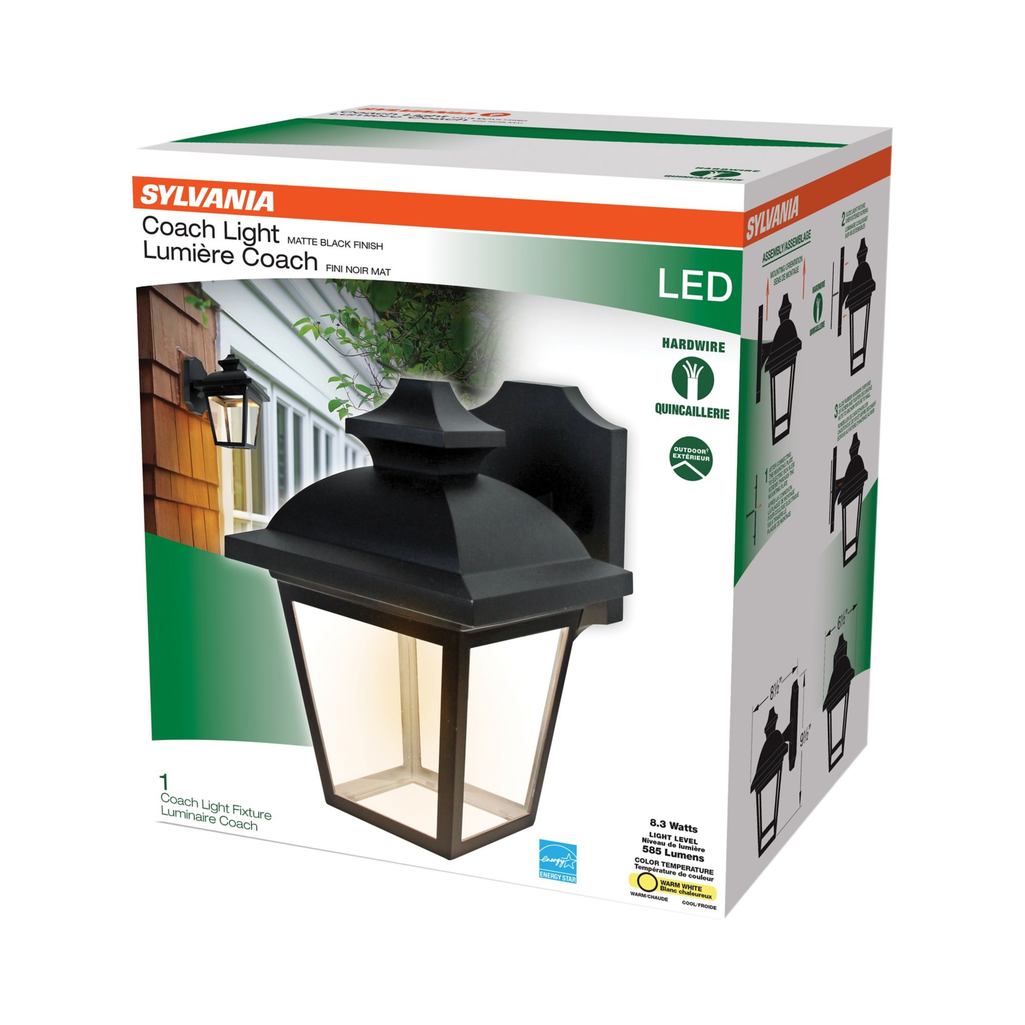 Image of: Sylvania Integrated Led Outdoor Coach Light Fixture Bjs Wholesale Club