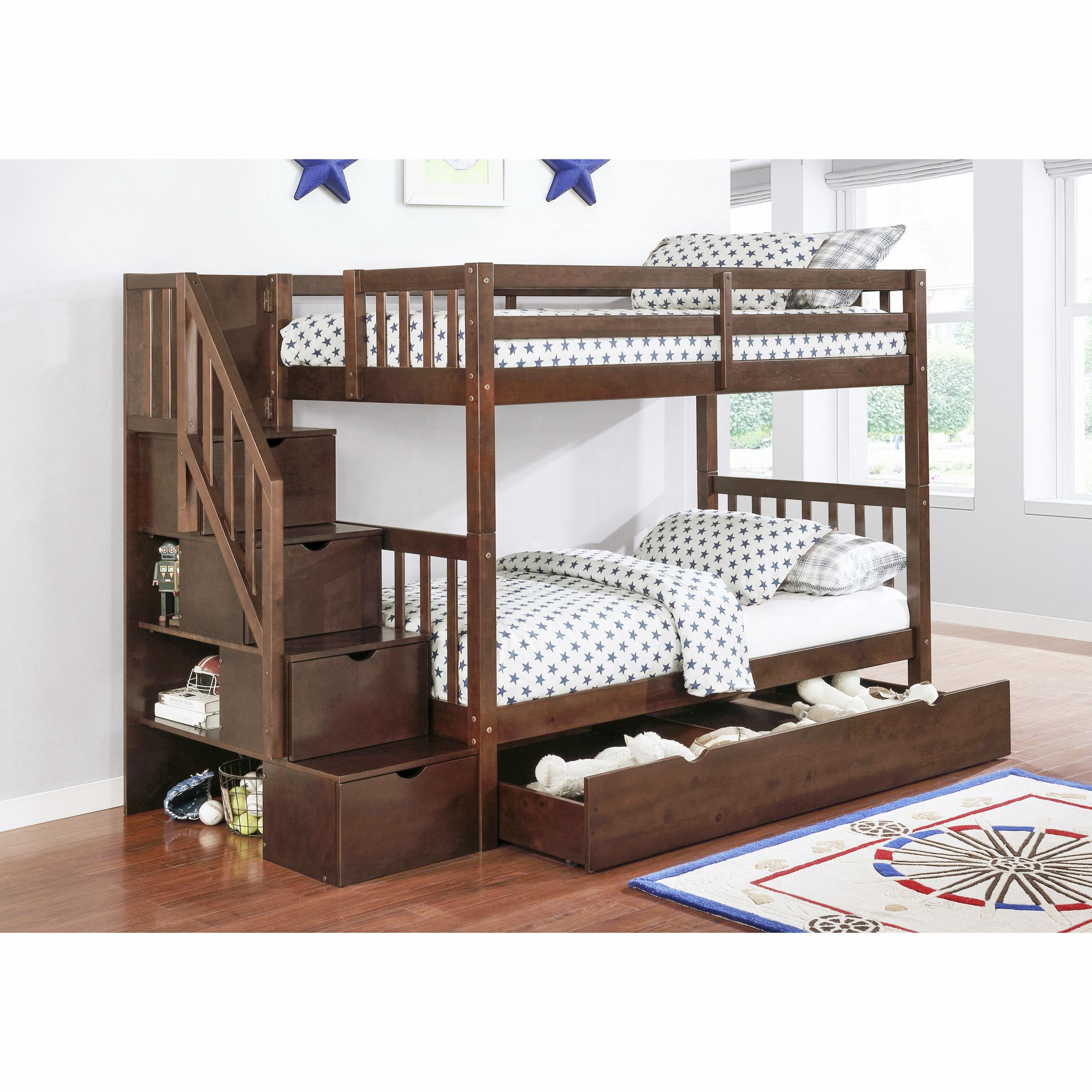 Berkley Jensen Twin Over Twin Stairway Storage Bunk Bed With Trundle Bjs Wholesale Club