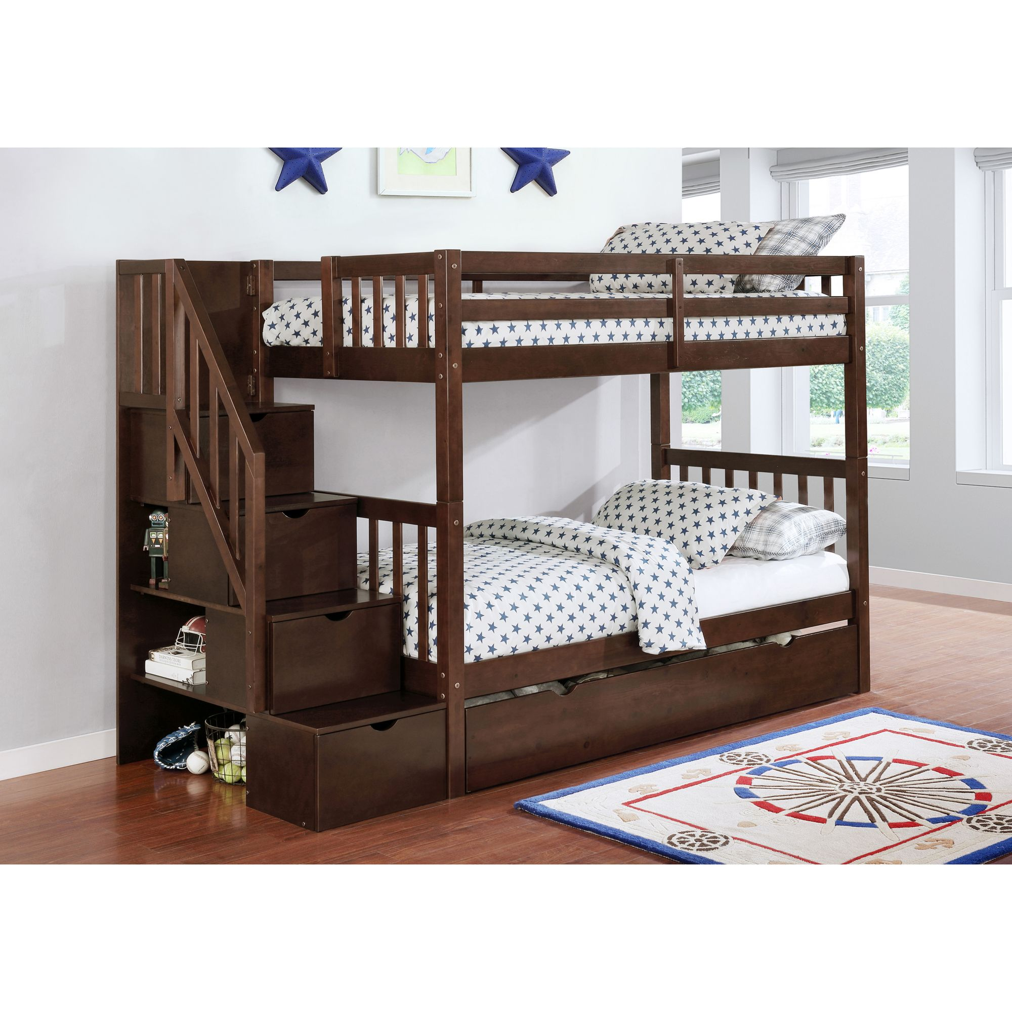 Picture of: Berkley Jensen Twin Over Twin Stairway Storage Bunk Bed With Trundle Bjs Wholesale Club
