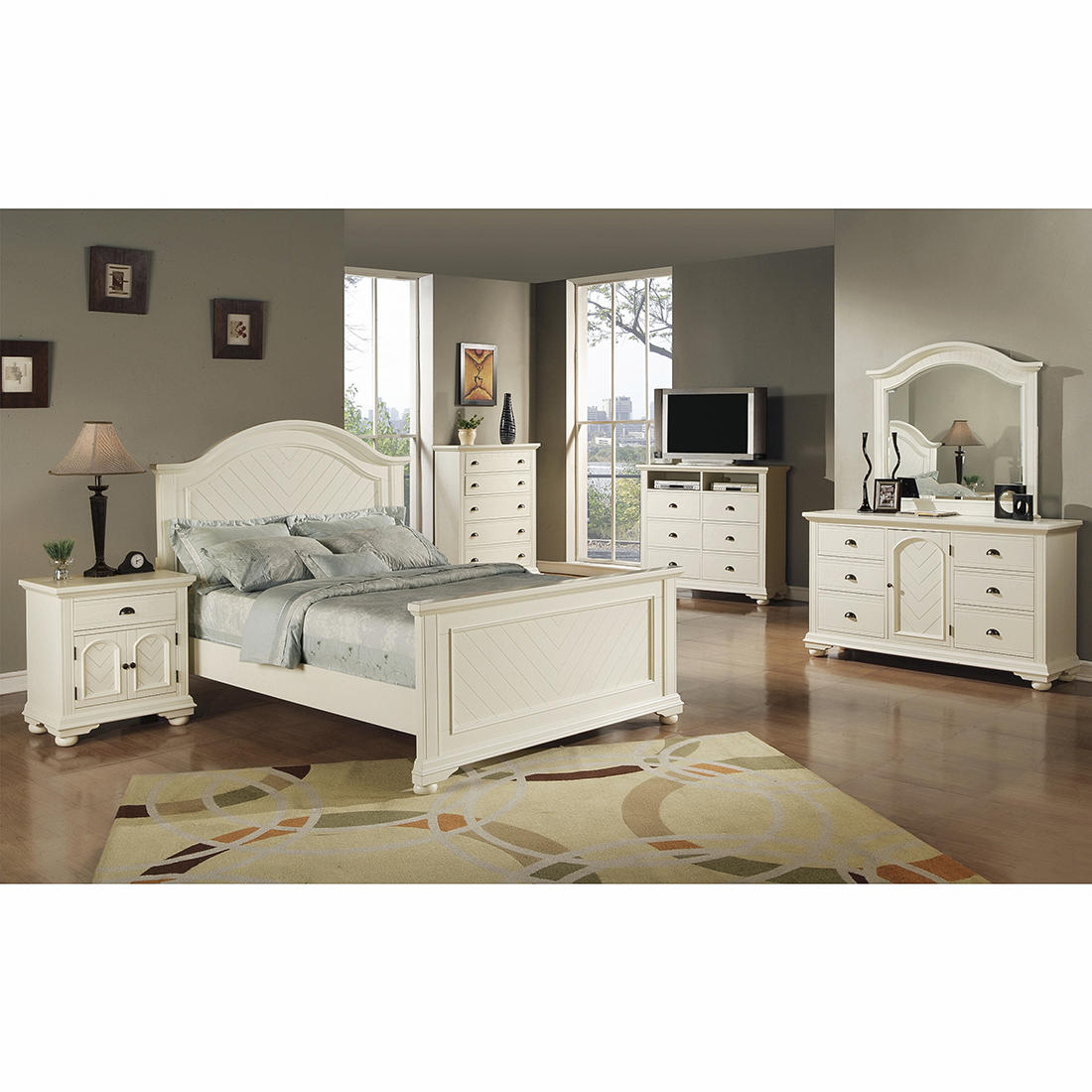 Chadwick 5 Pc Queen Size Panel Bedroom Set Cottage White Bjs Wholesale Club