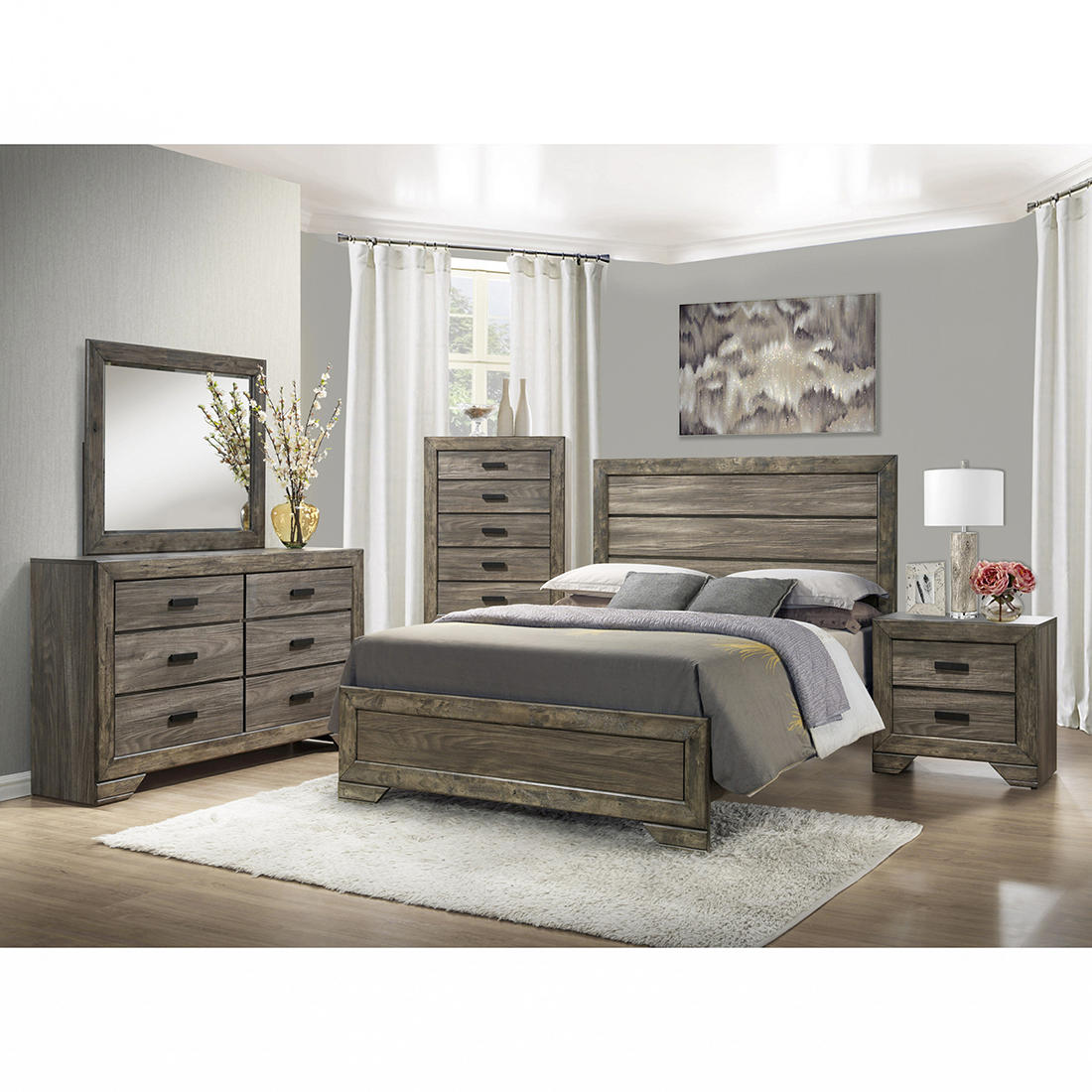Thompson Nh100qb5pc 5 Pc Queen Size Panel Bedroom Set Gray Oak Bjs Wholesale Club