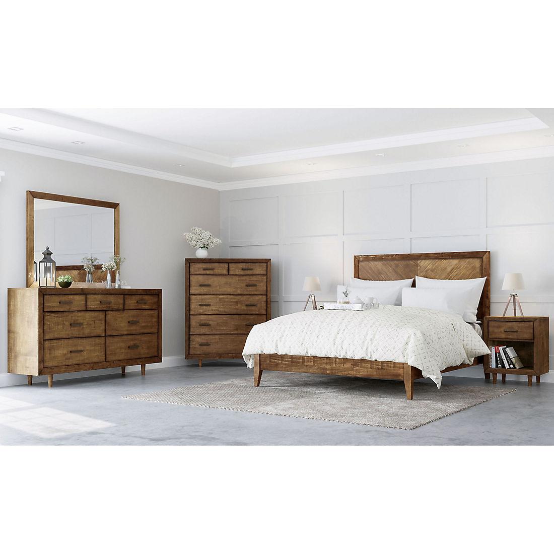 Abbyson Living Regina Mid Century 6 Pc King Size Bedroom Set Brown Bjs Wholesale Club