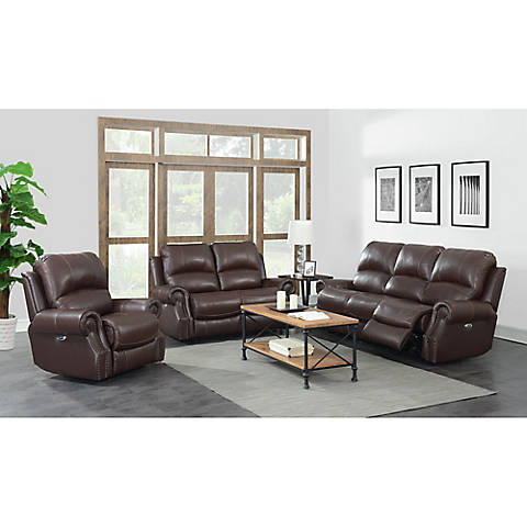 Emerson 3 Pc Power Motion Reclining Leather Living Room Set With Free White Glove Delivery Bjs Wholesale Club