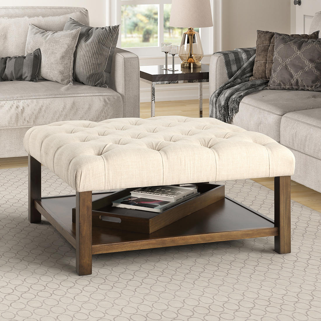 Berkley Jensen Tufted Coffee Table With Serving Tray Bjs Wholesale Club