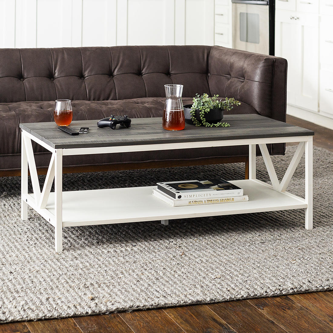 w trends 48 distressed farmhouse solid wood coffee table gray and white wash