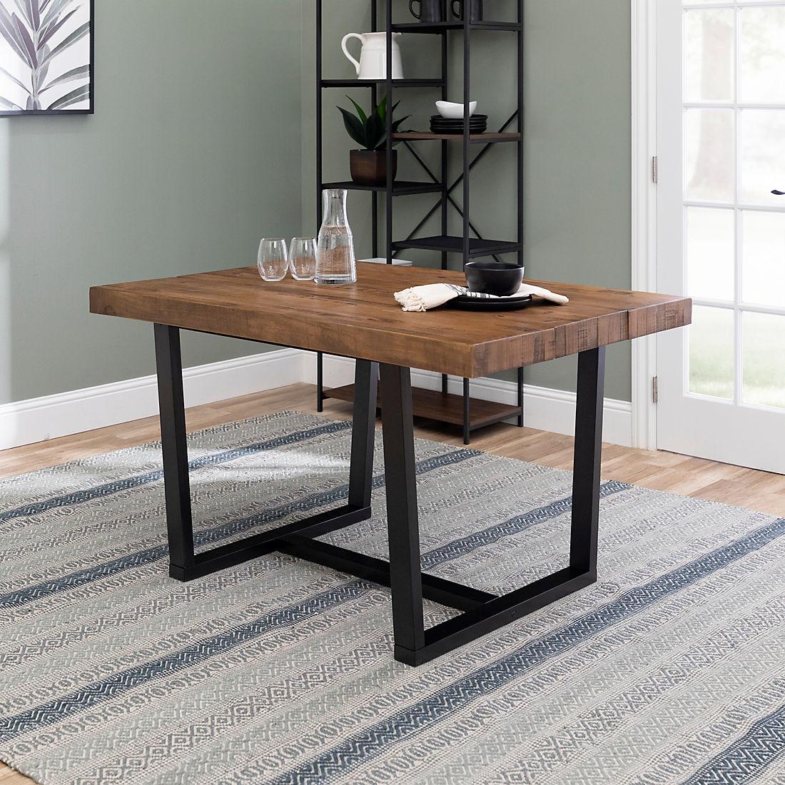 52 Distressed Solid Wood Dining Table Reclaimed Barnwood Bjs Wholesale Club