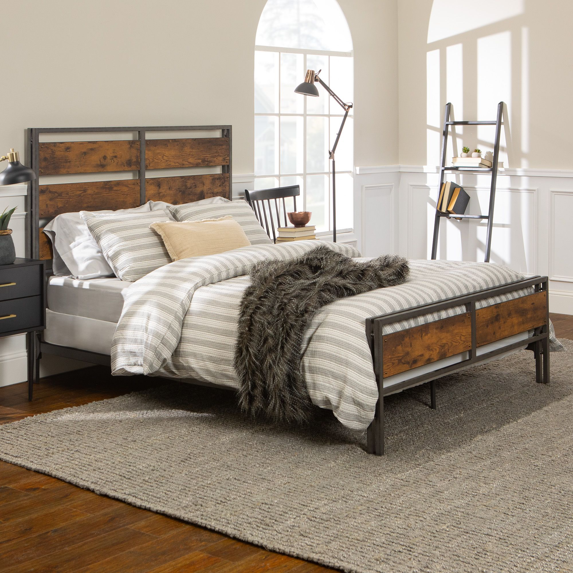Rustic Farmhouse Queen Size Bed Frame Brown Bjs Wholesale Club