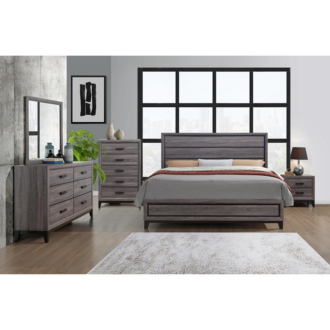 Kate Kate Gr Qbg 5 Pc Queen Bedroom Set Beechwood Gray Bjs Wholesale Club