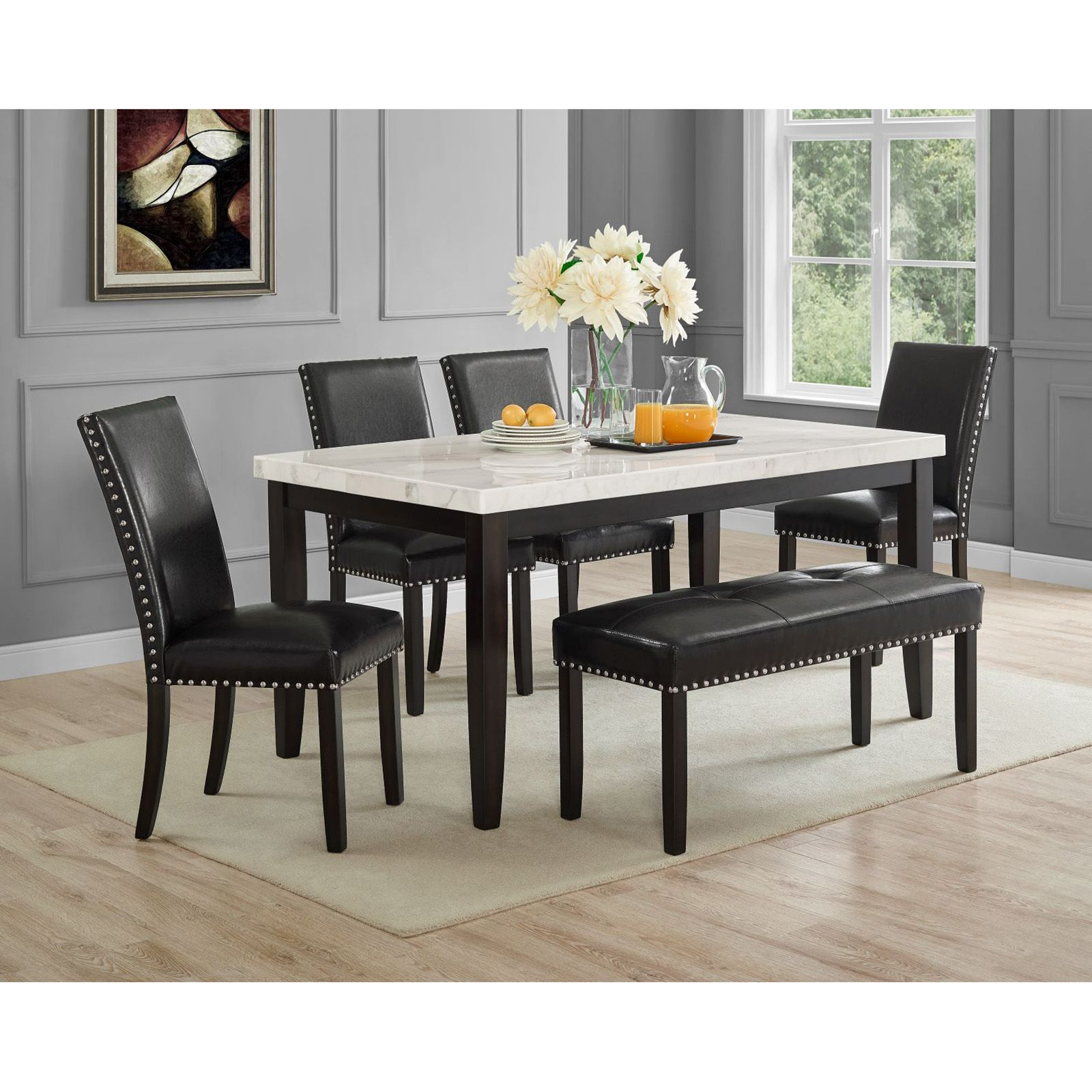 Heather Carrera White Marble Top 6 Pc Dining Set Bjs Wholesale Club