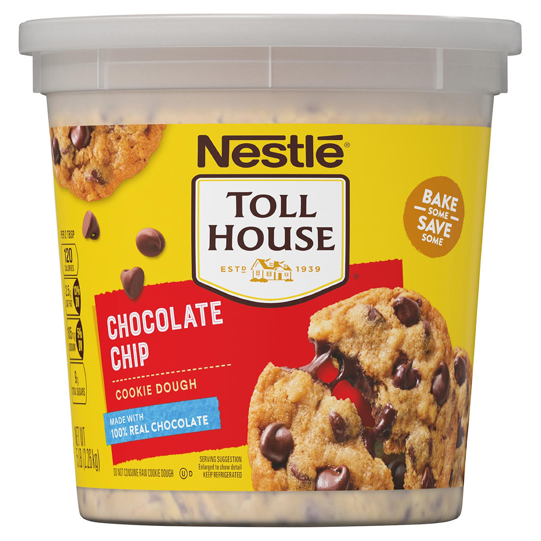 Nestle Tollhouse Chocolate Chip Cookie Dough Tub 80 Oz Bjs Wholesale Club