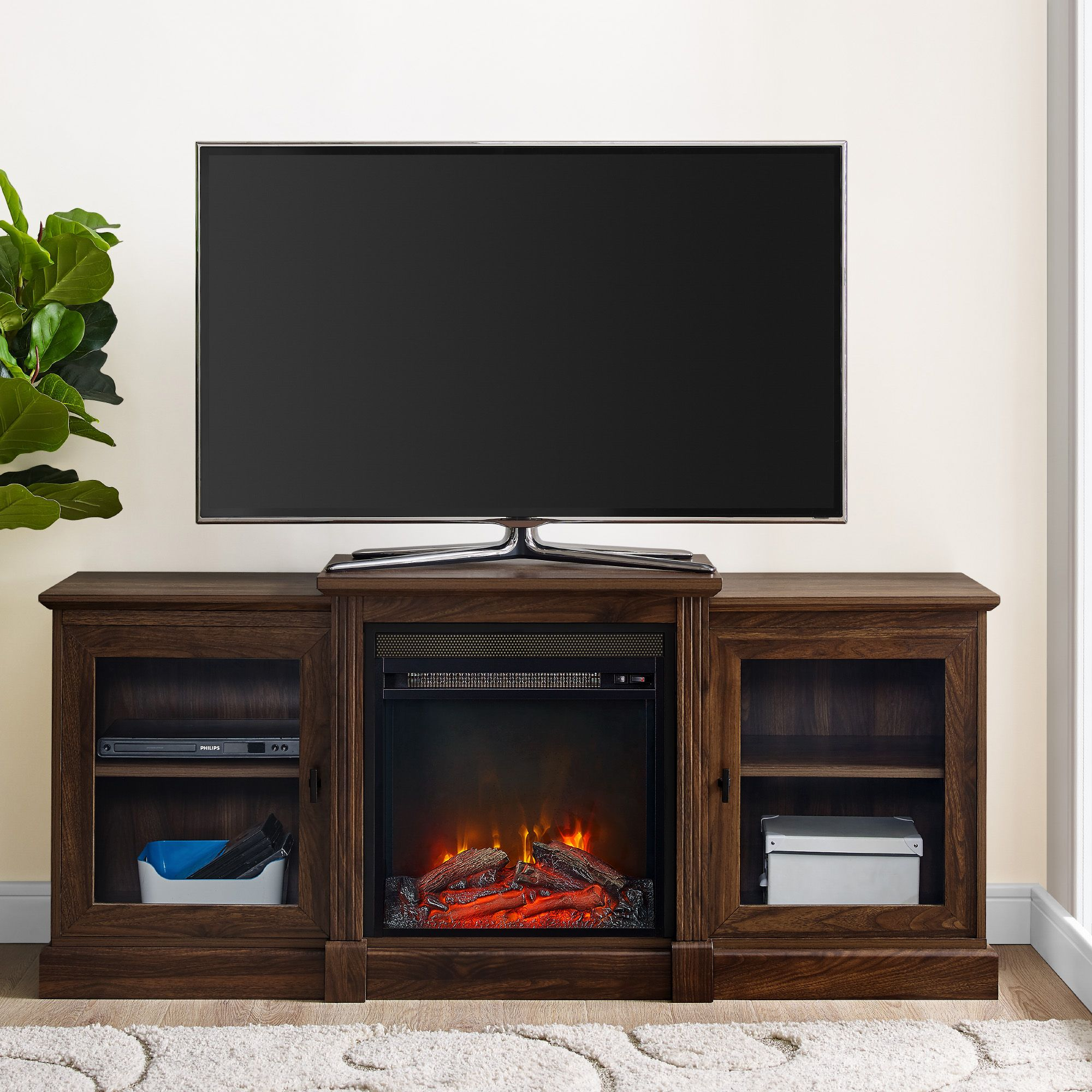 60 W Trends Chelsea Tiered Top Fireplace Tv Stand Bjs Wholesale Club