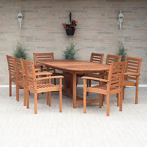 Amazonia Melinda 9 Pc Wood Extendable Patio Dining Set Bjs Wholesale Club