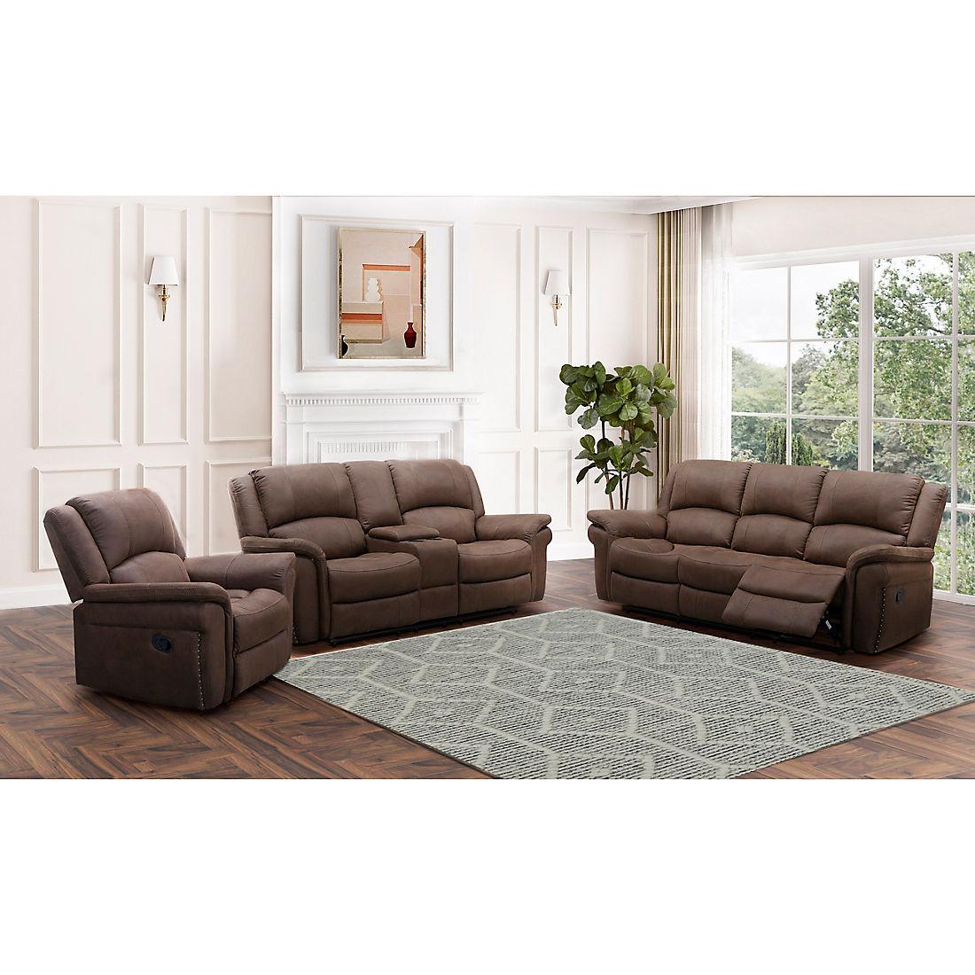 Abbyson Living Gordon Fabric Reclining, Brown Fabric Recliner Sofa Set