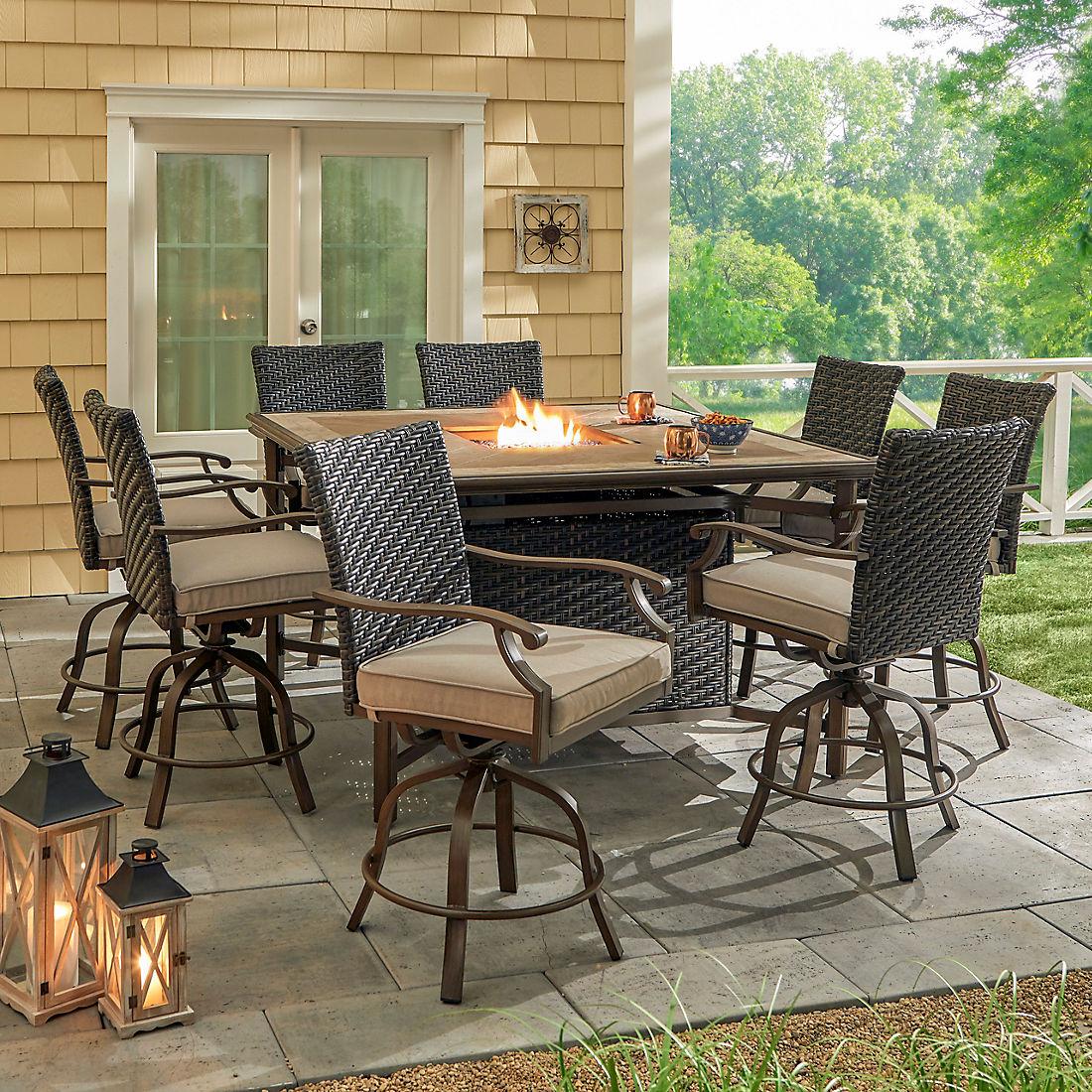 berkley jensen portsmouth 9pc aluminum high dining set with fire swivel chairs