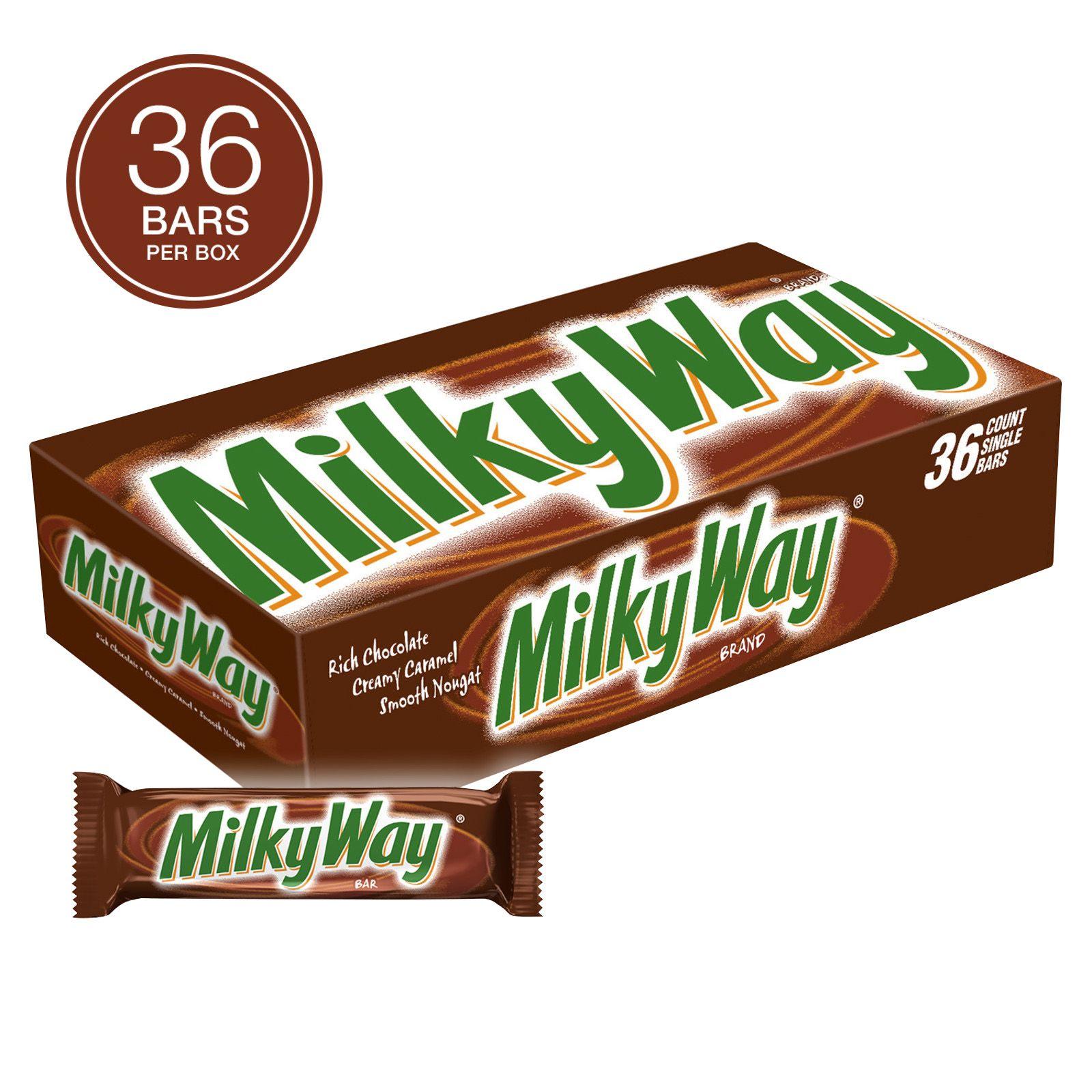Milky Way Milk Chocolate Candy Bars, Full Size Bulk Pack, 1.84 oz, 36 ct