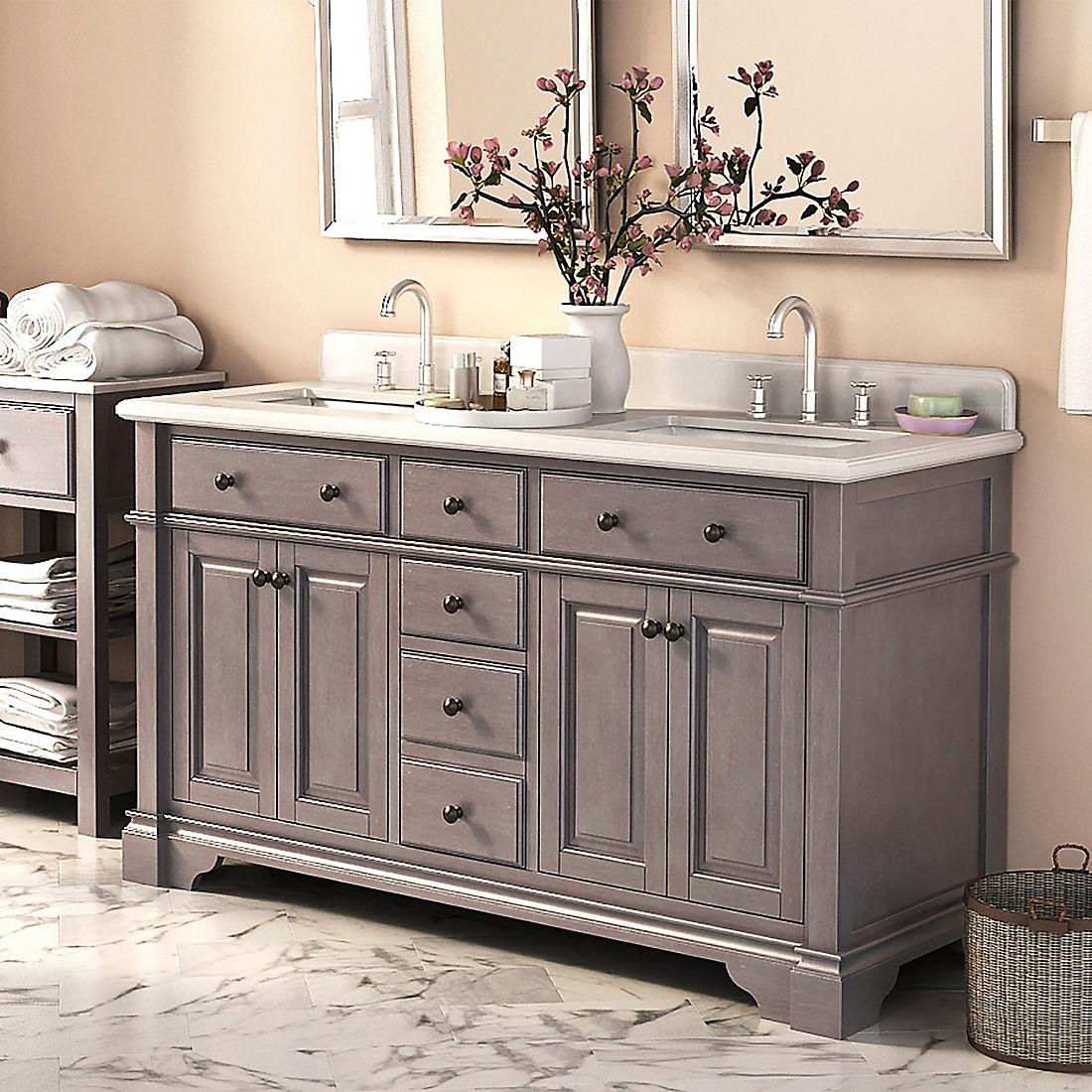 Lanza Casanova 60 Double Sink Vanity Antique Gray Bjs Wholesale Club