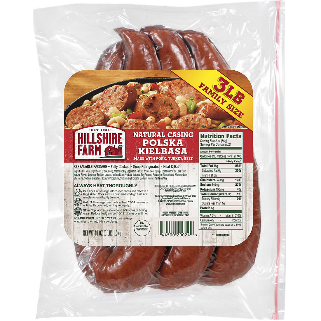 Hillshire Farm Polska Kielbasa Smoked Sausage Family Pack 48 Oz Bjs Wholesale Club