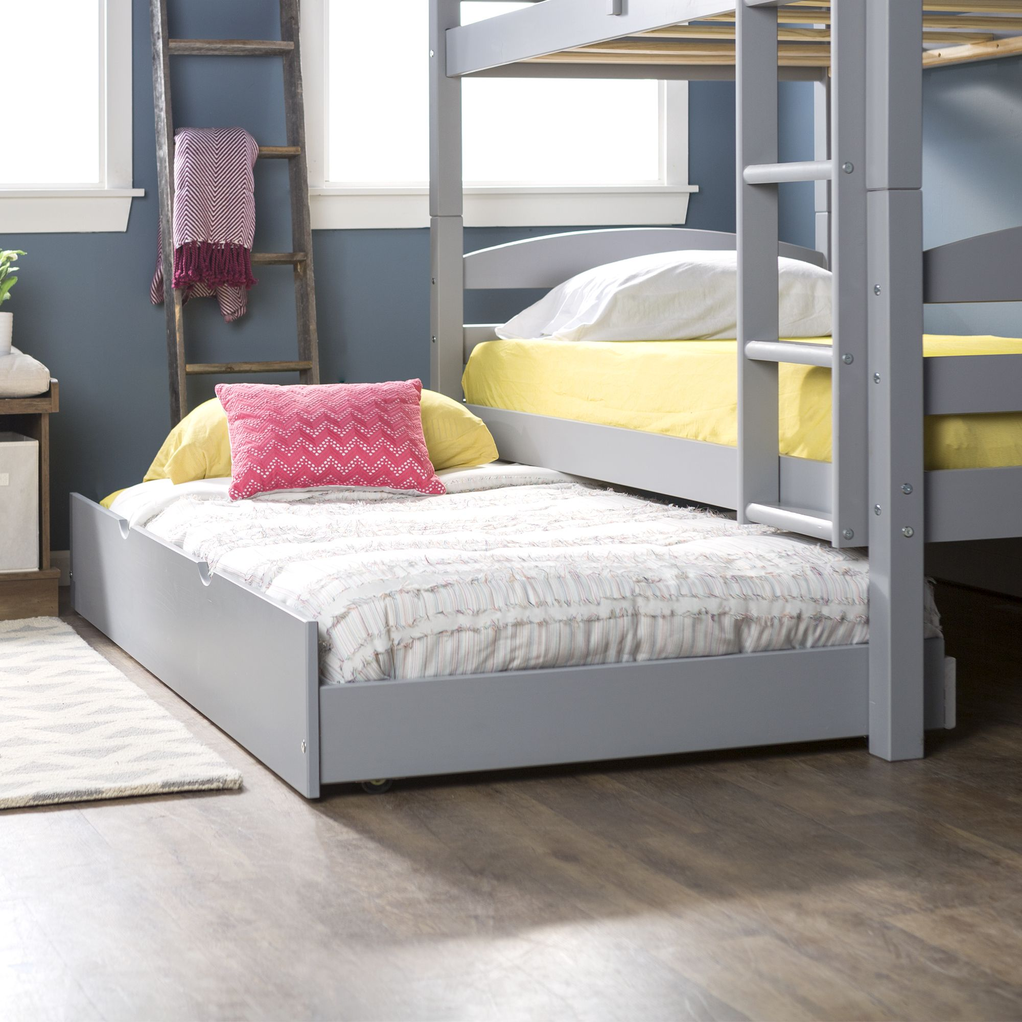W Trends Twin Size Solid Wood Trundle Bed Gray Bjs Wholesale Club