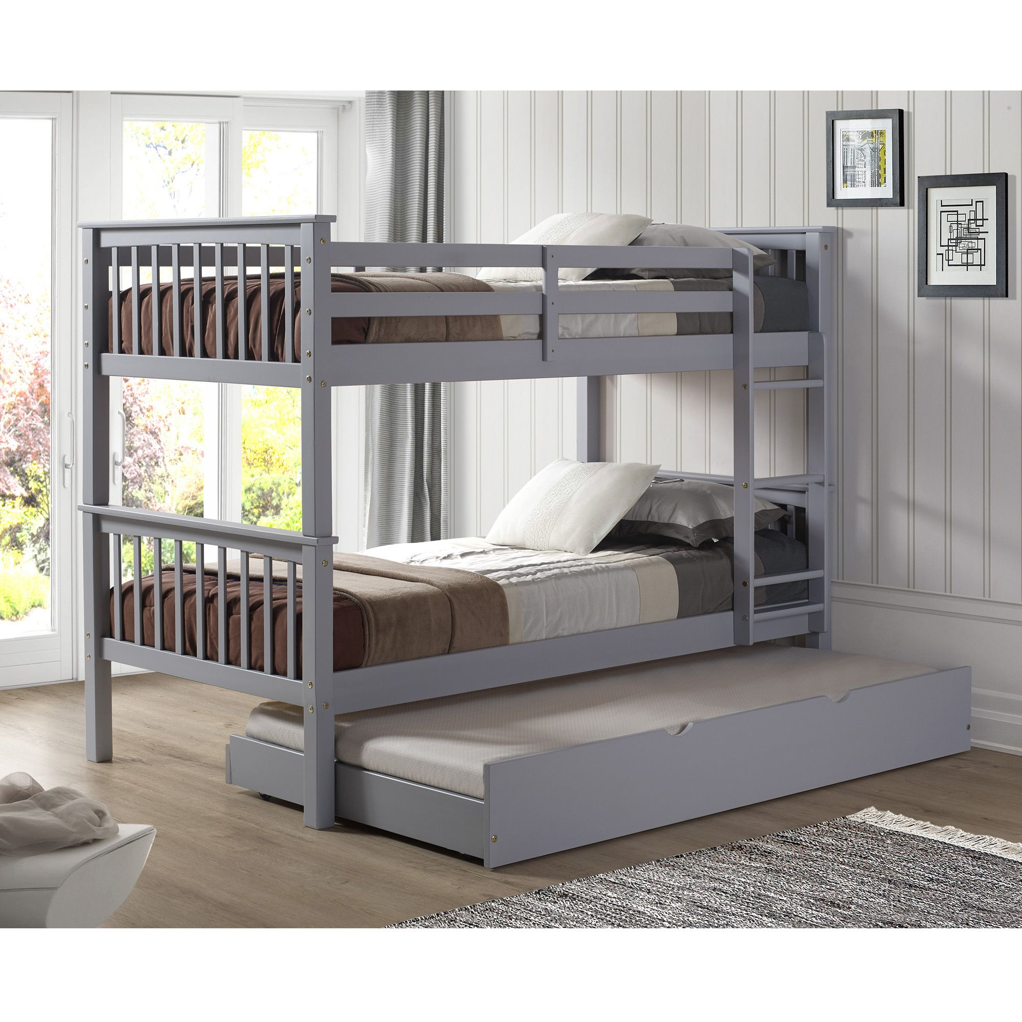 Picture of: W Trends Twin Size Solid Wood Bunk Bed With Trundle Gray Bjs Wholesale Club