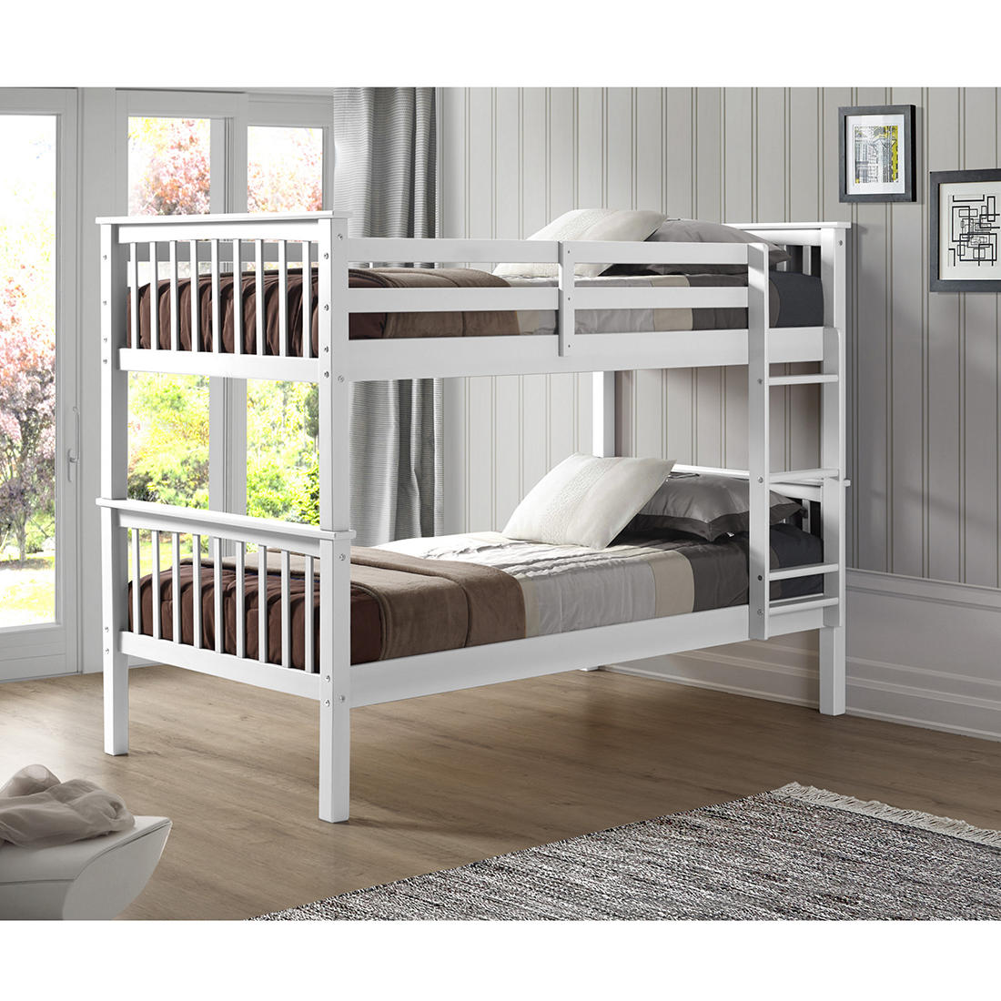 W Trends Twin Size Solid Wood Mission Bunk Bed White Bjs Wholesale Club